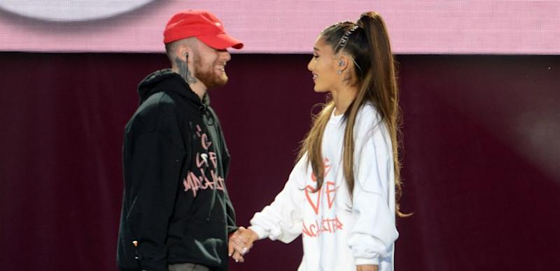 Mac Miller and Ariana Grande perform on stage on June 4, 2017 in Manchester, England