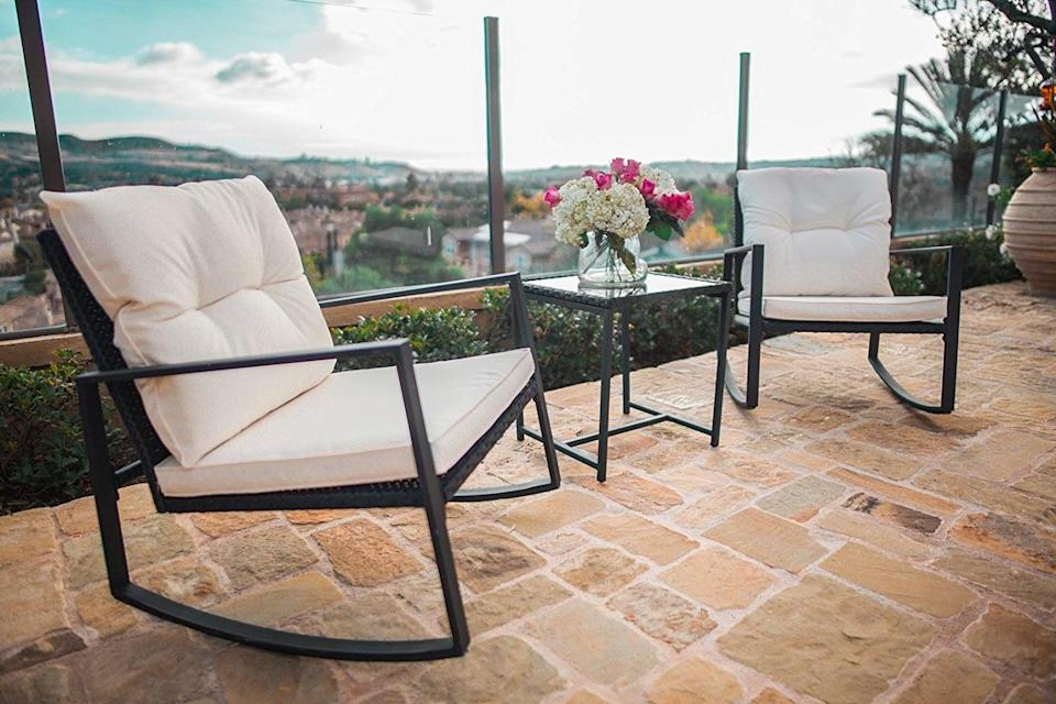 <p>If you've got a smaller outdoor space, try this <span>Suncrown Outdoor 3-Piece Rocking Wicker Bistro Set</span> ($130).</p>