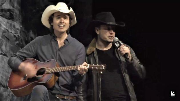 "Billionaire Elon Musk (in the black hat) and his brother, Kimbal Musk (in the white hat), join in a rendition of ""My Little Buttercup"" at the SXSW festival in Austin, Texas. (SXSW via YouTube)"