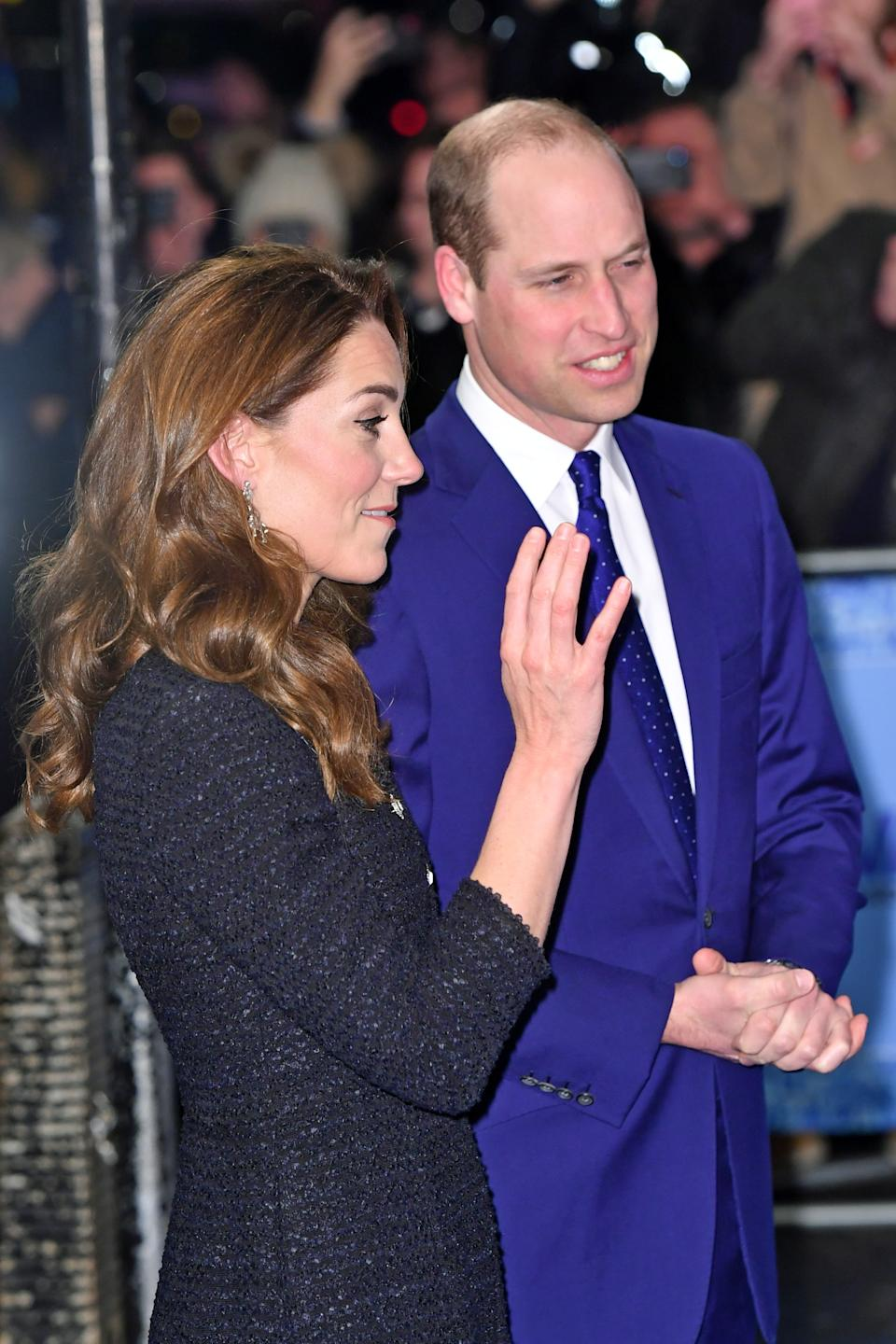 The Duke and Duchess of Cambridge arrive at the Noel Coward Theatre in London to attend a special performance of Dear Evan Hansen. (Photo by Dominic Lipinski/PA Images via Getty Images)