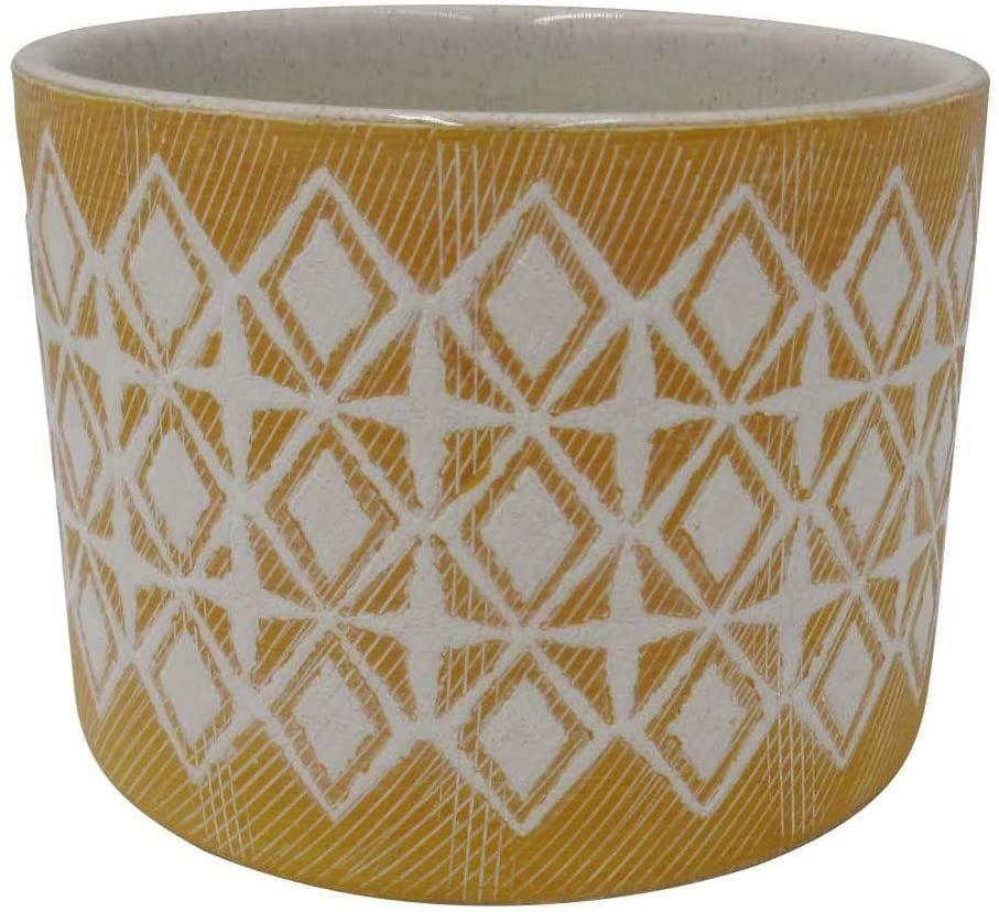 """<p>Add texture and brightness to your outdoor decor with the <span>Amazon Brand Rivet Geometric Ceramic Planter Pot, 4.1""""H, Golden Yellow</span> ($18).</p>"""