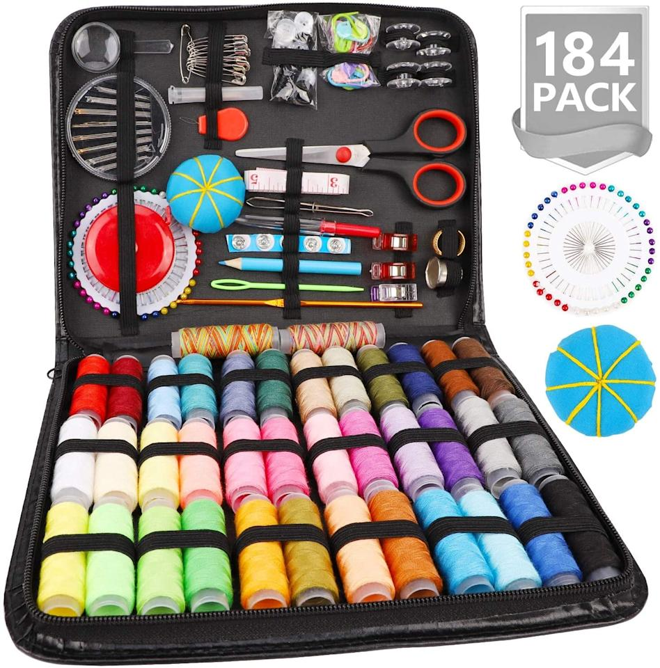"""<p>This <a href=""""https://www.popsugar.com/buy/Marcoon-Sewing-Kit-559380?p_name=Marcoon%20Sewing%20Kit&retailer=amazon.com&pid=559380&price=16&evar1=savvy%3Aus&evar9=47333724&evar98=https%3A%2F%2Fwww.popsugar.com%2Fsmart-living%2Fphoto-gallery%2F47333724%2Fimage%2F47333730%2FMarcoon-Sewing-Kit&list1=shopping%2Cwellness%2Cactivities%2Cindoor%20activities&prop13=api&pdata=1"""" rel=""""nofollow"""" data-shoppable-link=""""1"""" target=""""_blank"""" class=""""ga-track"""" data-ga-category=""""Related"""" data-ga-label=""""https://www.amazon.com/gp/product/B07QS97PJL/ref=ppx_yo_dt_b_asin_title_o07_s00?ie=UTF8&amp;psc=1"""" data-ga-action=""""In-Line Links"""">Marcoon Sewing Kit</a> ($16) will give you everything you could possibly need including thread, pins, scissors, a seam ripper, and lots more.</p>"""
