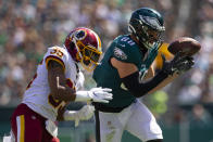 Dallas Goedert #88 of the Philadelphia Eagles cannot make a catch against Montae Nicholson #35 of the Washington Redskins in the second quarter at Lincoln Financial Field on September 8, 2019 in Philadelphia, Pennsylvania. (Photo by Mitchell Leff/Getty Images)