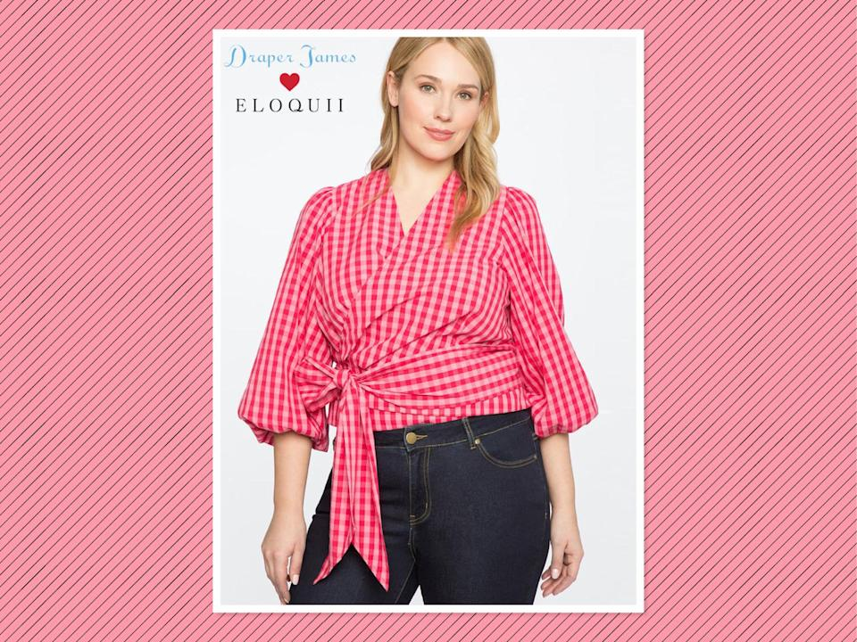 "<p>Draper James for Eloquii gingham wrap top, $85, <a href=""http://www.eloquii.com/draper-james-for-eloquii-3%2F4-sleeve-wrap-top/1066054.html?dwvar_1066054_colorCode=23&cgid=draper-james&start=5"" rel=""nofollow noopener"" target=""_blank"" data-ylk=""slk:Eloquii"" class=""link rapid-noclick-resp"">Eloquii</a> (Photo: Eloquii) </p>"