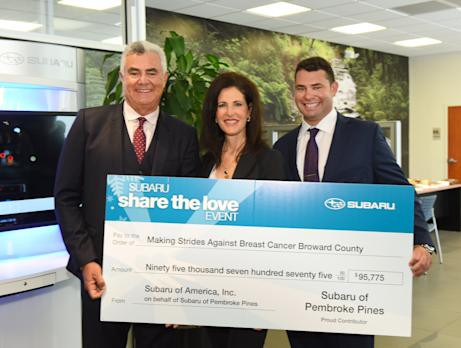 Subaru Of Pembroke Pines >> Subaru Of Pembroke Pines Presents The American Cancer Society With