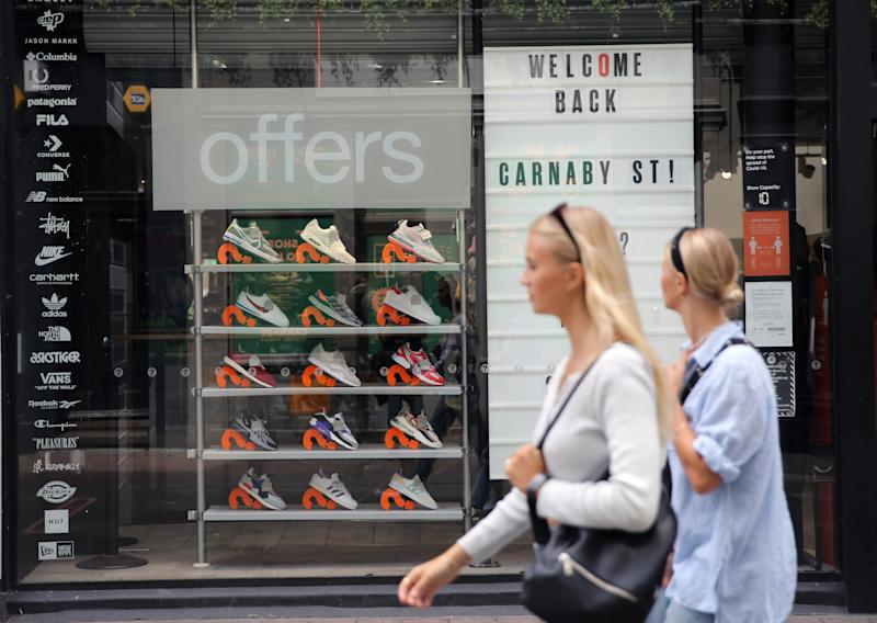 A shop display a Welcome Back message on its window to customers at Carnaby street, as London prepare to reopen to the public when the lifting of further lockdown restrictions in England comes into effect on Saturday. Picture date: Friday July 3, 2020.