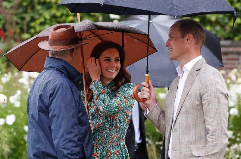 Prince William, Prince Harry and the Duchess of Cambridge visited the sunken garden at Kensington Palace Wednesday to see its transformation into a white garden honoring Princess Diana, who died 20 years ago on Aug. 31.