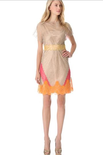 Alberta Ferretti's peachy lace dress is oerfect for a first date