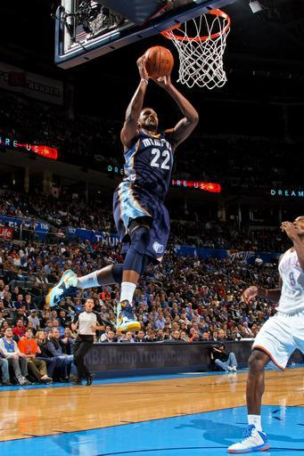 OKLAHOMA CITY, OK - NOVEMBER 14: Rudy Gay #22 of the Memphis Grizzlies dunks against the Oklahoma City Thunder on November 14, 2012 at the Chesapeake Energy Arena in Oklahoma City, Oklahoma. (Photo by Layne Murdoch Jr./NBAE via Getty Images)