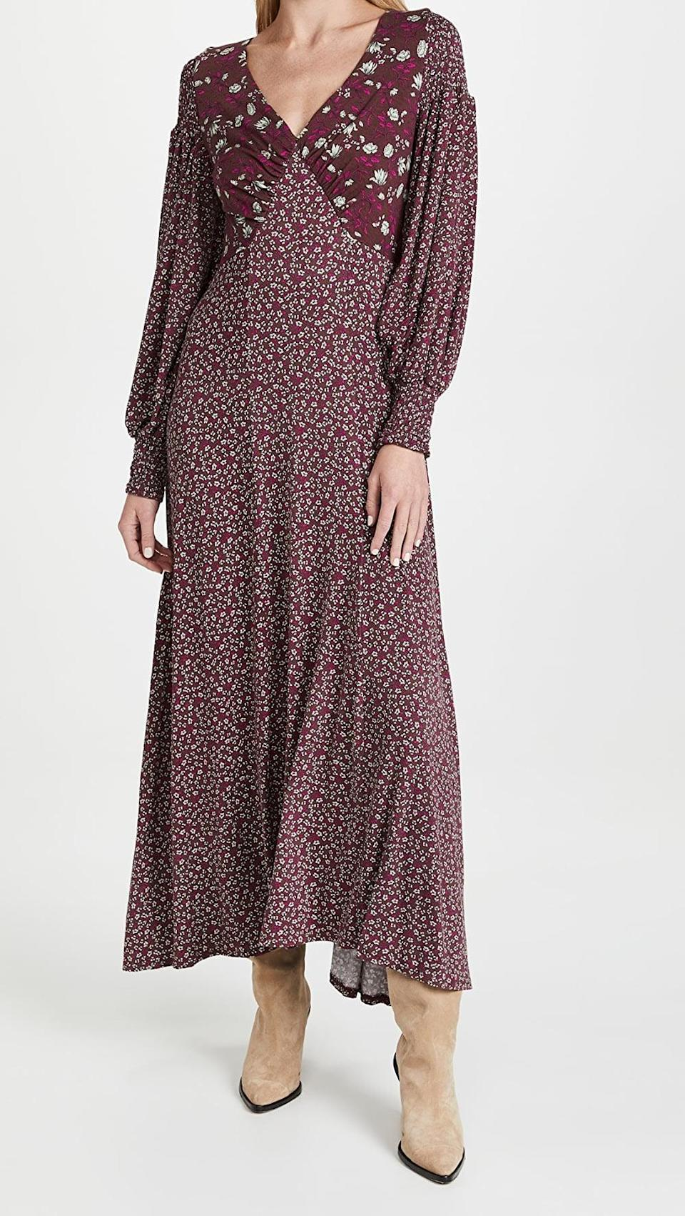 <p>This <span>Free People Love Story Maxi Dress</span> ($198) calls for parties where lots of wine will be flowing. The color will not only be on theme, but it will also look feminine with its floral details.</p>