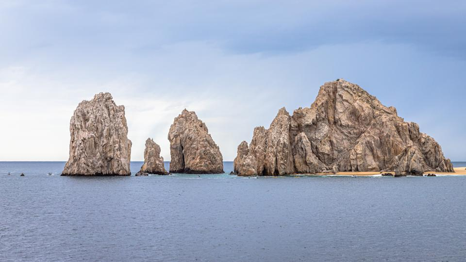 Aerial view of El Arco, at Cabo San Lucas. Rocky outcrops featuring a natural arch, are one of the most famous natural attractions of Mexico.