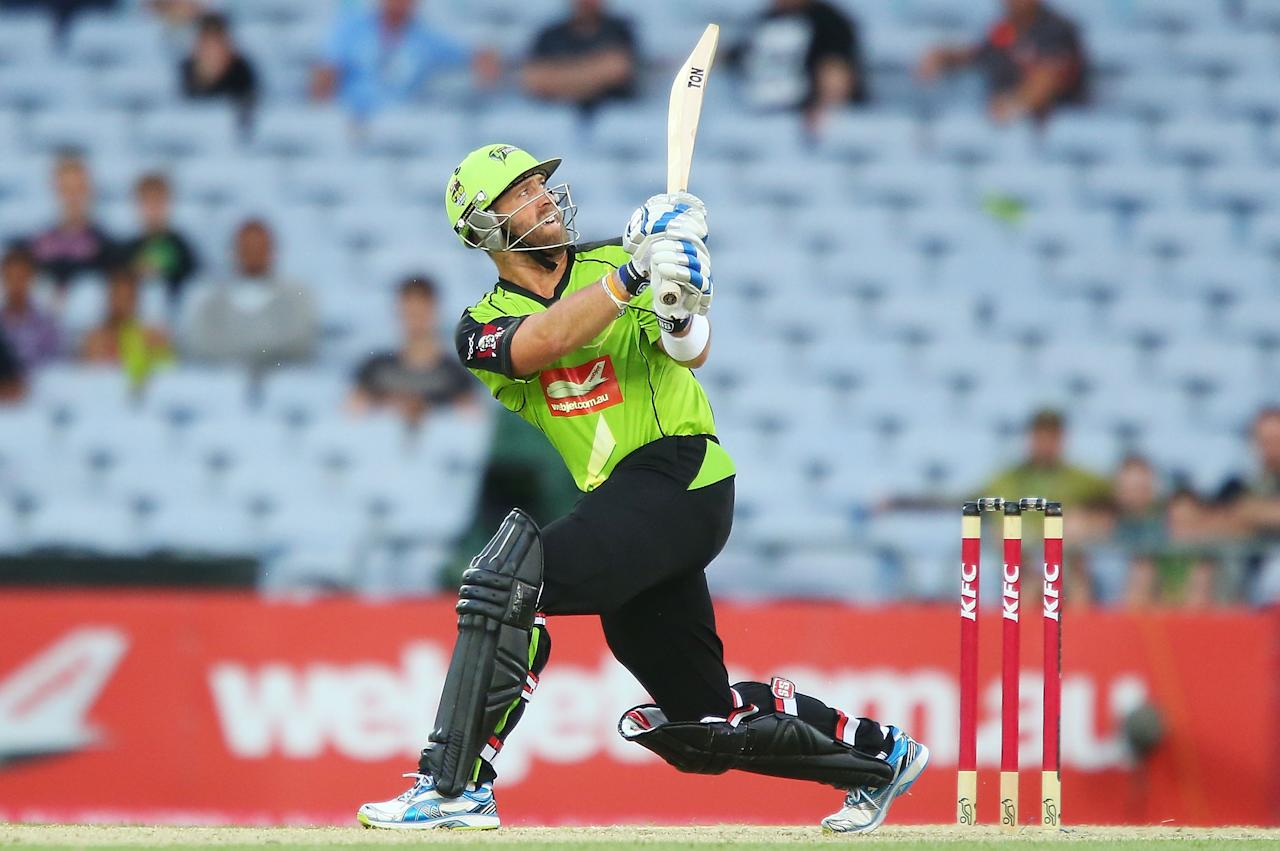 SYDNEY, AUSTRALIA - DECEMBER 28:  Matt Prior of the Thunder bats during the Big Bash League match between the Sydney Thunder and the Brisbane Heat at ANZ Stadium on December 28, 2012 in Sydney, Australia.  (Photo by Brendon Thorne/Getty Images)