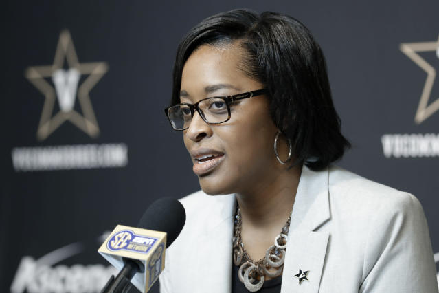 After previously serving in an interim role, Candice Lee has been elevated to full-time athletic director at Vanderbilt. (AP Photo/Mark Humphrey)