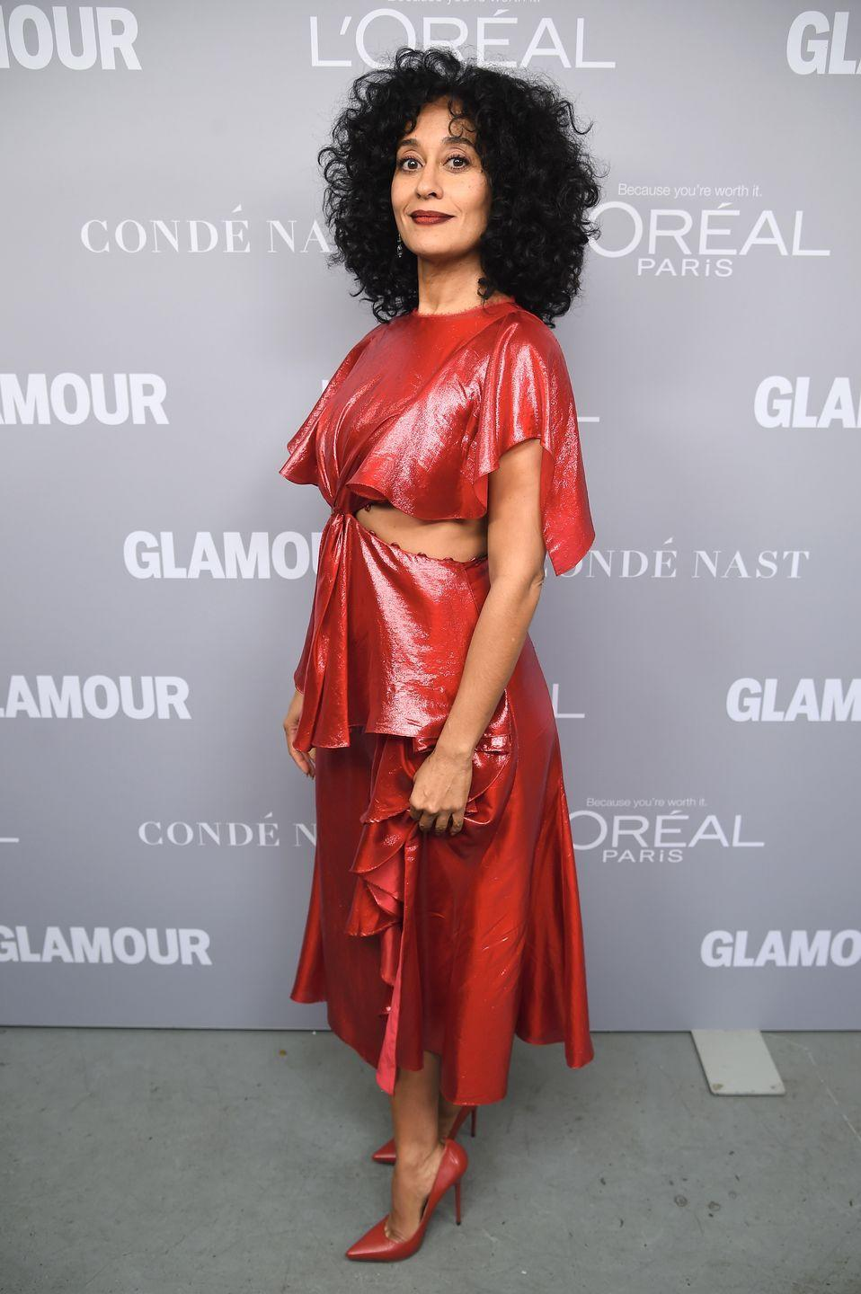 <p>The cut-outs on Tracee Ellis Ross's dress by Prabal Gurung result in a look similar to the one Jasmine wore herself. She even got the princess's lip color right.</p>