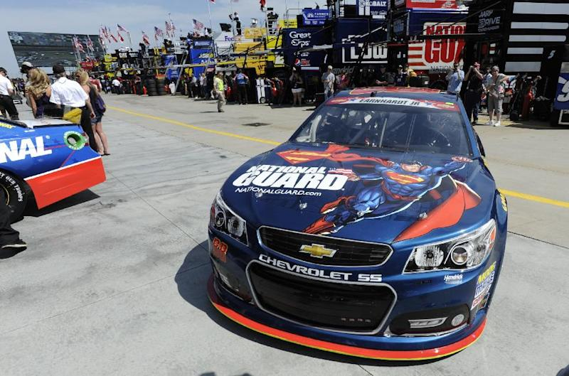 Dale Earnhardt Jr brings his car into the garage during practice for Sunday's NASCAR Sprint Cup series Coca-Cola 600 auto race at Charlotte Motor Speedway in Concord, N.C., Thursday, May 22, 2014. (AP Photo/Mike McCarn)