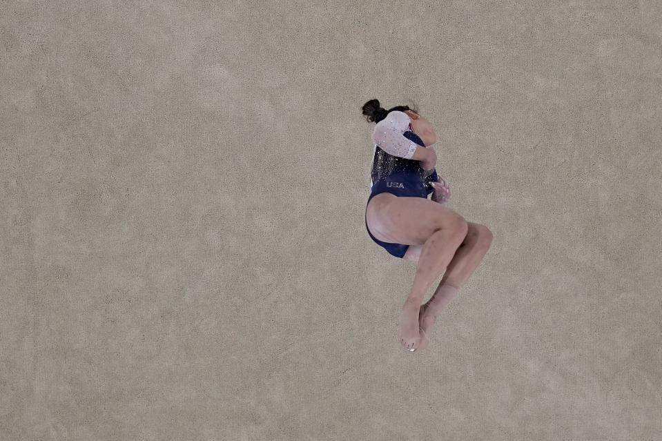 Sunisa Lee, of the United States, performs on the floor during the artistic gymnastics women's all-around final at the 2020 Summer Olympics, Thursday, July 29, 2021, in Tokyo. (AP Photo/Morry Gash)