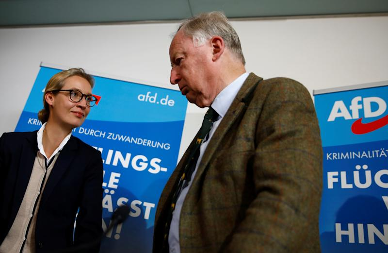 The AfD's two lead candidates, Alice Weidel and Alexander Gauland, attend a news conference in Berlin on Sept. 18, 2017.