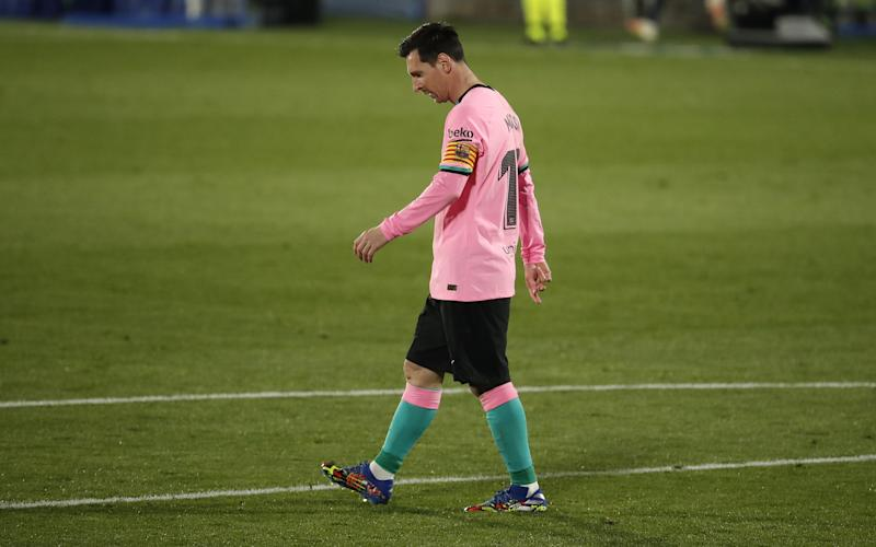 MADRID, SPAIN - OCTOBER 17: Lionel Messi of Barcelona reacts during the La Liga soccer match between Barcelona and Getafe at Coliseum Alfonso Perez Stadium in Madrid, Spain on October 17, 2020. (Photo by Burak Akbulut/Anadolu Agency via Getty Images)