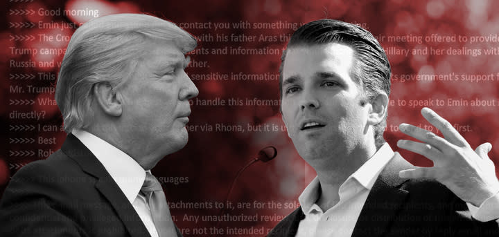 President Trump and son Donald Trump Jr. (Photo illustration: Yahoo News; photos: Alex Brandon/AP, Matt York/AP)