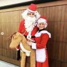 <p>As Santa Claus and Mrs. Claus.</p>