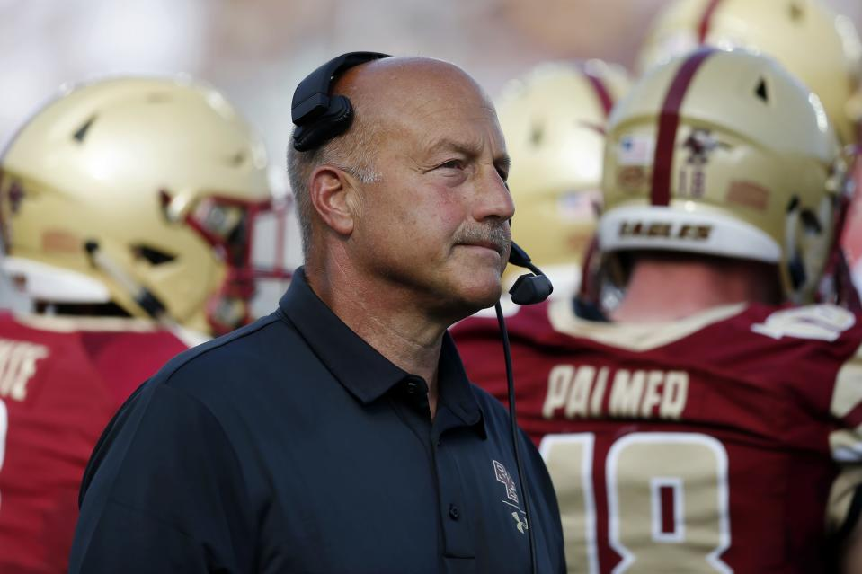 Boston College head coach Steve Addazio stands on the sidelines during the first half of an NCAA college football game against Virginia Tech in Boston, Saturday, Aug. 31, 2019. (AP Photo/Michael Dwyer)