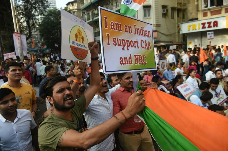 Thousands of protesters showed up at a pro-government demonstration, clutching flags and posters (AFP Photo/INDRANIL MUKHERJEE        )
