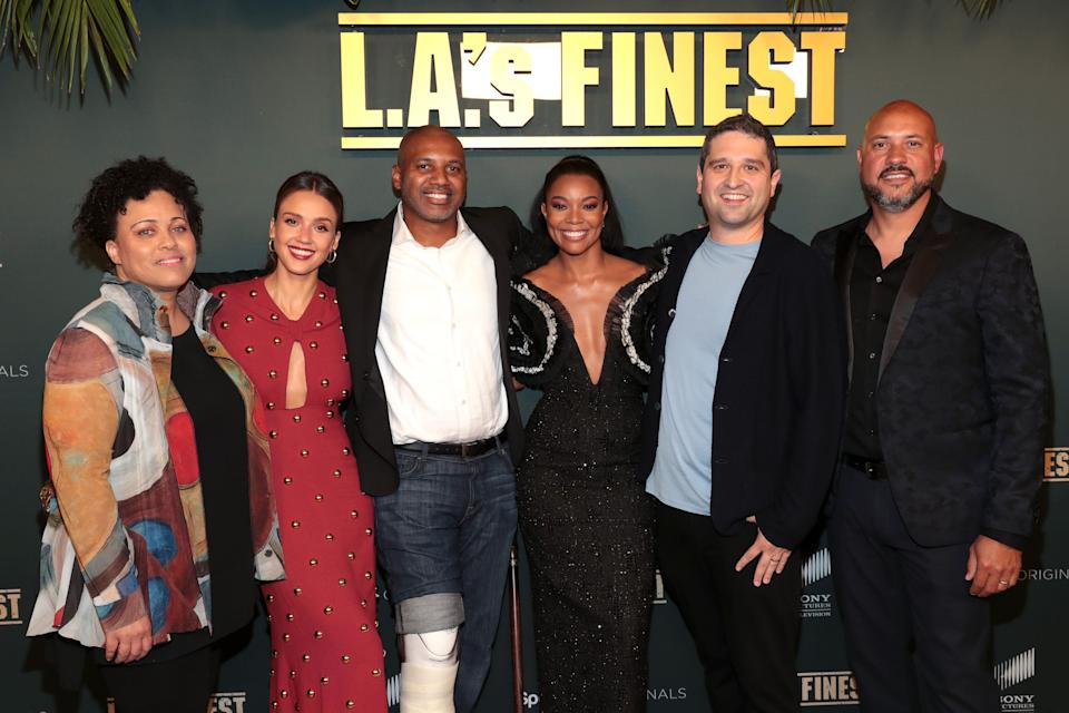 """(Left to right) Pam Veasey, Jessica Alba, Brandon Sonnier, Gabrielle Union, Brandon Margolis, and Anton Cropper attend Spectrum Originals and Sony Pictures Television Premiere Party for """"L.A.'s Finest"""" at Sunset Tower on May 10, 2019. (Photo: Rich Polk via Getty Images)"""