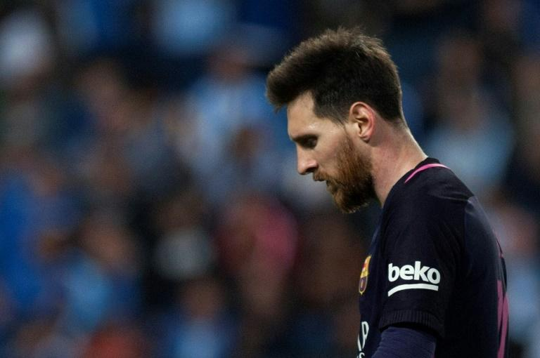 Barcelona's Lionel Messi reacts during the Spanish league football match Malaga CF vs FC Barcelona at La Rosaleda stadium in Malaga on April 8, 2017