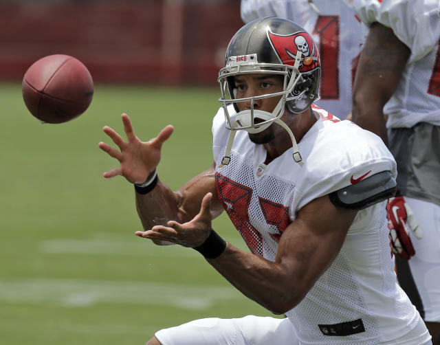 Tampa Bay Buccaneers wide receiver Vincent Jackson catches a pass during an NFL football training camp Monday, July 28, 2014, in Tampa, Fla. (AP Photo/Chris O'Meara)