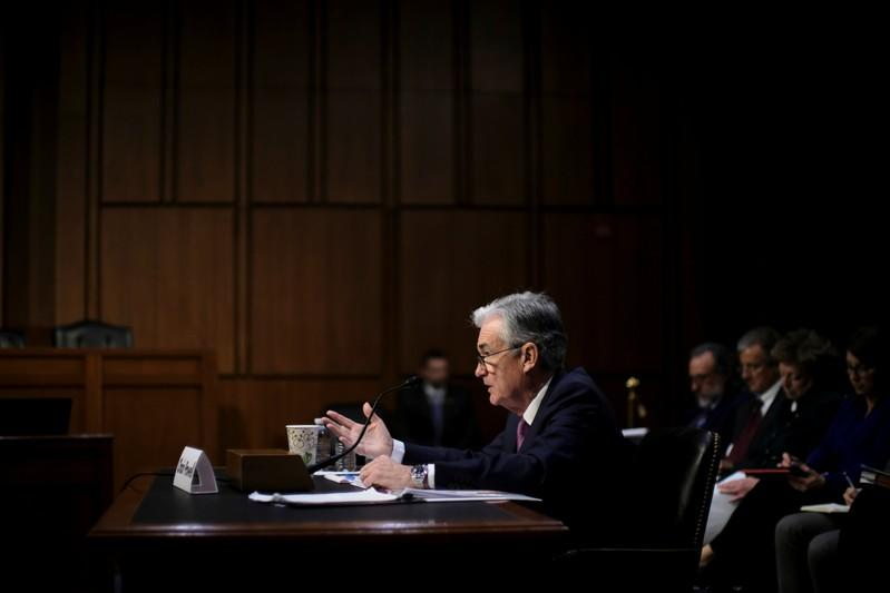 """Federal Reserve Board Chairman Jerome Powell testifies before a Joint Economic Committee hearing on """"The Economic Outlook"""" on Capitol Hill in Washington"""