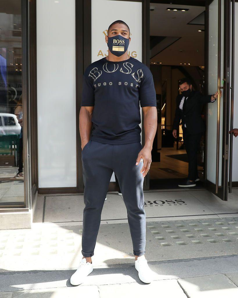 <p>The boxer wore a Hugo Boss mask to for the launch of his capsule collection with the brand in London.</p>