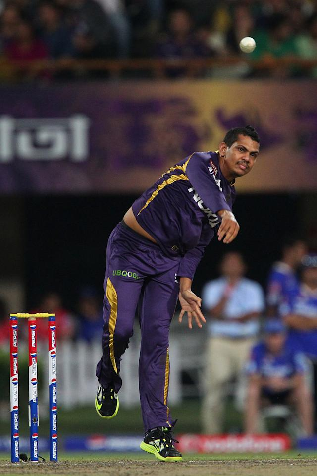Sunil Narine during match 47 of the Pepsi Indian Premier League between The Kolkata Knight Riders and the Rajasthan Royals held at the Eden Gardens Stadium in Kolkata on the 3rd May 2013..Photo by Ron Gaunt-IPL-SPORTZPICS  ..Use of this image is subject to the terms and conditions as outlined by the BCCI. These terms can be found by following this link:..https://ec.yimg.com/ec?url=http%3a%2f%2fwww.sportzpics.co.za%2fimage%2fI0000SoRagM2cIEc&t=1506359538&sig=2Z0UXDXs0ZRY0j0RJw31rw--~D