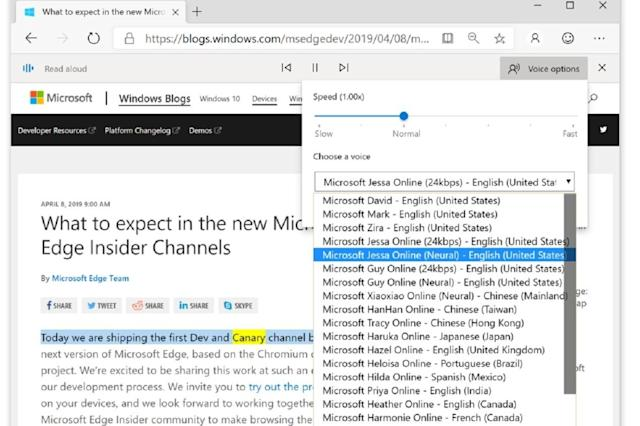 Microsoft Edge can now read webpages to you with more