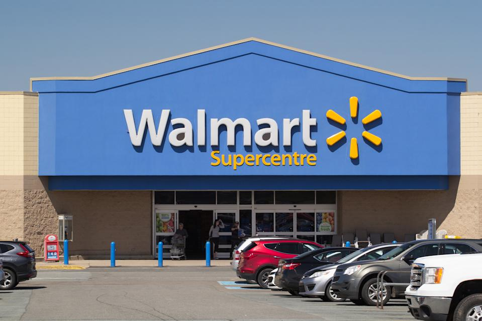 Truro, Canada - June 04, 2019: Walmart storefront. Walmart is an American corporation with chains of department and warehouse stores. There are more than 11,000 stores in 27 countries.