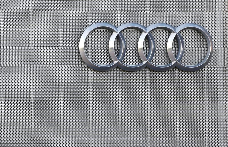 The Audi logo is seen at an auto centre in Minsk
