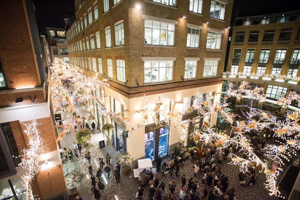 """<p>Head into Covent Garden on November 23 for the unveiling of the forest-inspired Christmas light installation. St Martin's Courtyard will be hosting live music and exclusive shopping discounts as well as giving you the chance to get a free glass of prosecco and toast some marshmallows. From 5pm. Register for your free ticket <a href=""""https://www.stmartinscourtyard.co.uk/"""" rel=""""nofollow noopener"""" target=""""_blank"""" data-ylk=""""slk:here"""" class=""""link rapid-noclick-resp"""">here</a>.<br><br></p>"""