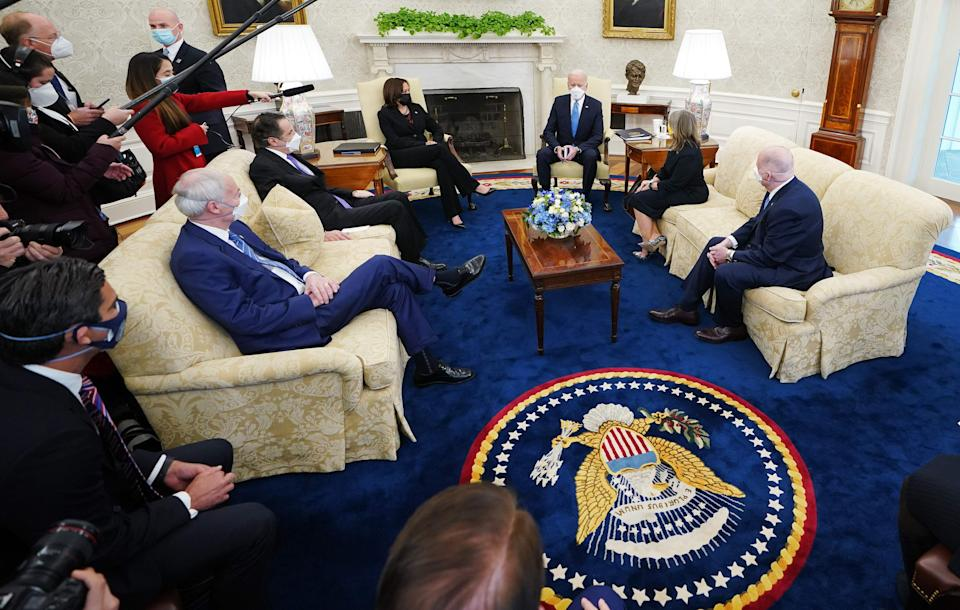 President Joe Biden and Vice President Kamala Harris met with governors and mayors on his COVID-19 economic relief plan in the Oval Office on Feb. 12.