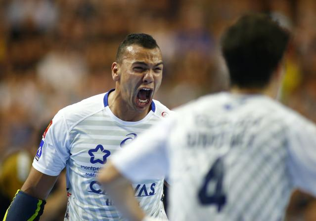 Handball - Men's EHF Champions League Final - HBC Nantes vs Montpellier HB - Lanxess Arena, Cologne, Germany - May 27, 2018. Mohamed Shebib of Montpellier HB reacts after scoring. REUTERS/Thilo Schmuelgen