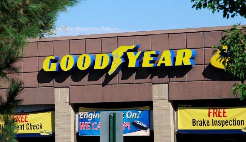 FILE PHOTO - The Goodyear Tire and Rubber Co storefront is seen in Westminster, Colorado