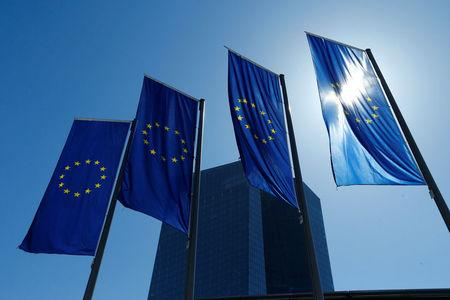 FILE PHOTO:European Union flags flutter outside the headquarters of ECB in Frankfurt