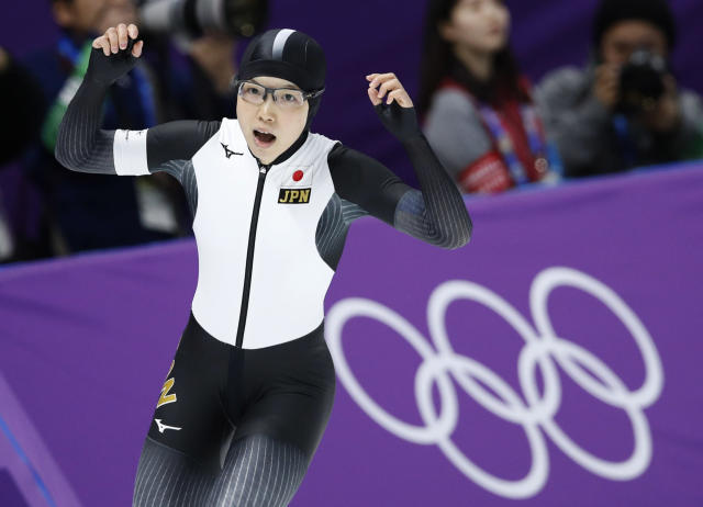 Japan's Nao Kodaira celebrates after setting a new Olympic record in the women's 500 meters speedskating race at the Gangneung Oval at the 2018 Winter Olympics in Gangneung, South Korea, Sunday, Feb. 18, 2018. (AP Photo/Vadim Ghirda)