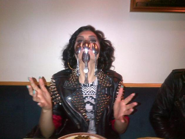 """Celebrity photos: Jessie J showed off her unusual talent this week, balancing a load of spoons on her face. She tweeted the photo of the achievement, along with the caption: """"Fun and games at the restaurant. Showing my skills again lol."""" [sic]"""