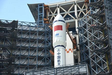 Long March-7 rocket and Tianzhou-1 cargo spacecraft are seen as they are transferred to a launching spot in Wenchang
