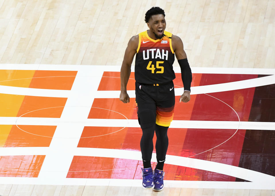 Utah Jazz guard Donovan Mitchell reacts after a play against the Memphis Grizzlies in Game 2 of their Western Conference first-round playoff series on May 26, 2021. Mitchell returned to the court after missing the last 16 games of the regular season the first game of the postseason. (Alex Goodlett/Getty Images)