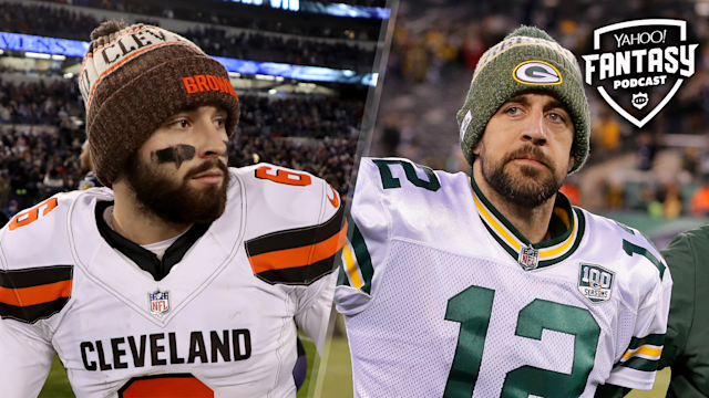 "Cleveland Browns QB Baker Mayfield and Green Bay Packers QB <a class=""link rapid-noclick-resp"" href=""/nfl/players/7200/"" data-ylk=""slk:Aaron Rodgers"">Aaron Rodgers</a> are two players looking to find improvements made to their rosters in the 2019 season. (Getty Images)"