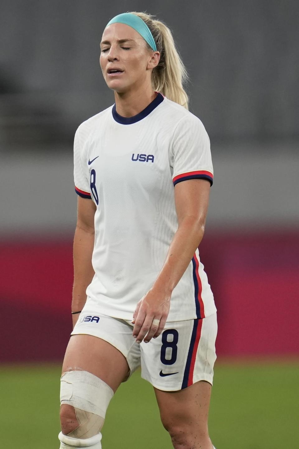 United States' Julie Ertz reacts after losing 0-3 against Sweden at the 2020 Summer Olympics, Wednesday, July 21, 2021, in Tokyo. Sweden won 3-0. (AP Photo/Ricardo Mazalan)