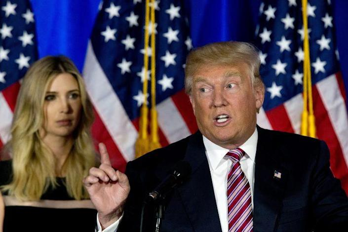 Presumptive Republican presidential nominee Donald Trump is joined by his daughter Ivanka as he speaks at Trump National Golf Club Westchester on Tuesday. (Photo: Mary Altaffer/AP)