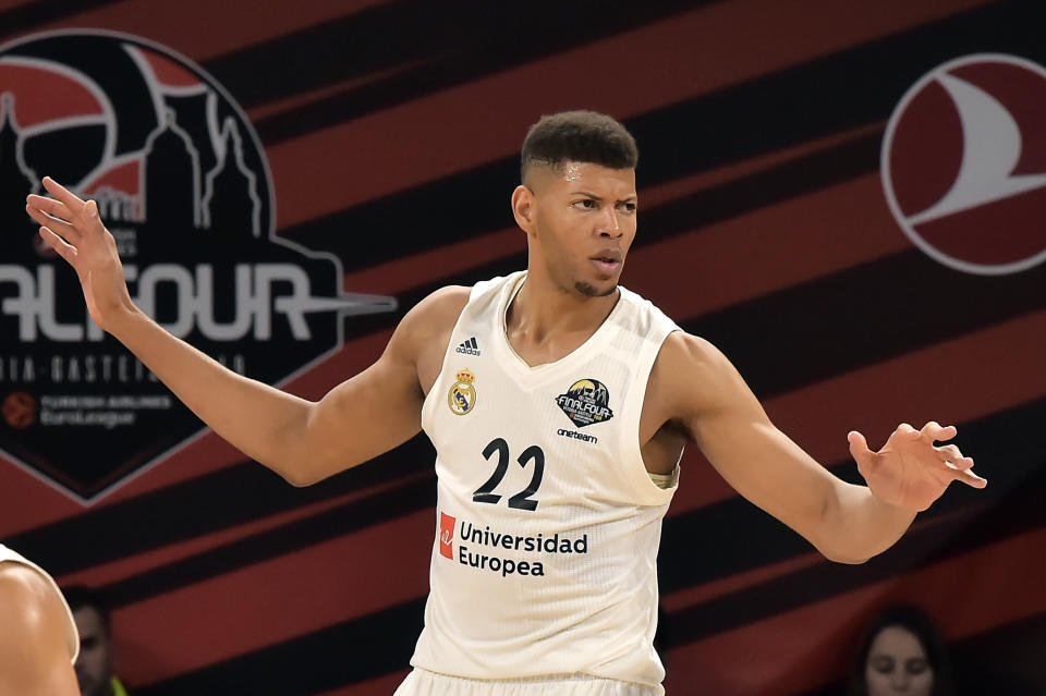 FILE - In this Friday, May 17, 2019 file photo, Madrid's Walter Tavares gestures during the Euroleague Final Four semifinal basketball match between CSKA Moscow and Real Madrid at the Fernando Buesa Arena in Vitoria, Spain. While the AfroBasket tournament doesnt boast the star power of an Olympics, it does showcase ever-competitive and improving quality of basketball on the continent. Tiny Cape Verde has one big advantage as it tries to become champion of African basketball for the first time: 7-foot-3 former NBA draft pick Walter Edy Tavares. (AP Photo/Alvaro Barrientos, file)