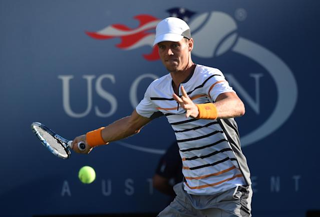 Tomas Berdych during his US Open match against Martin Klizan in New York on August 29, 2014 (AFP Photo/Timothy A. Clary)