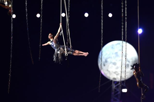 LONDON, ENGLAND - AUGUST 29: Artists perform during the Opening Ceremony of the London 2012 Paralympics at the Olympic Stadium on August 29, 2012 in London, England. (Photo by Gareth Copley/Getty Images)